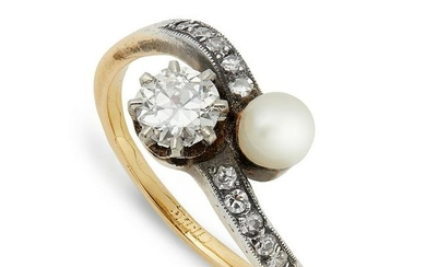 A pearl and diamond crossover ring.