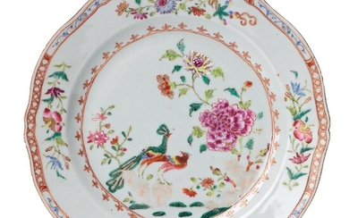 A set of 10 famille rose 'double peacock' dinner plates, Qing dynasty, Qianlong (1736-95).