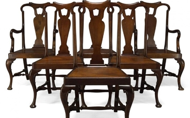 A set of six Queen Anne style mahogany dining chairs,...