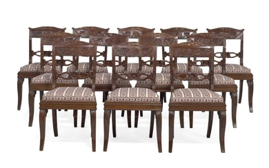 A set of twelve North Italian late Empire mahogany dining chairs, curved backs carved with cornucopia, foliage and rosettes. Mid-19th century. (12)