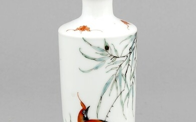 A small Chinese porcelain vase, Mid-20th c., of slight conical form, polychromed onglaze, the shoulder with 3 iron red bats, 4-character mark in iron red, h. 13.5 cm