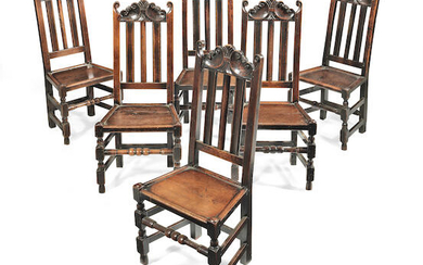 A very near-set of six late 17th century joined oak high-back chairs, English, circa 1685