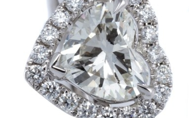 AN 18CT WHITE GOLD DIAMOND HEART CLUSTER RING; centring a brilliant heart cut diamond estimated as approx. 1.50ct (laser drilled) to...