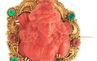 AN ANTIQUE CARVED CORAL AND GEMSET BROOCH, 18TH CENTURY