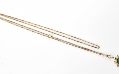AN ANTIQUE GOLD LINED ROPE SLIDE CHAIN, WITH PHOTO FRAME AND SEED PEARL SET SLIDE, TOTAL LENGTH 640MM (INCLUDING THE FRAME)