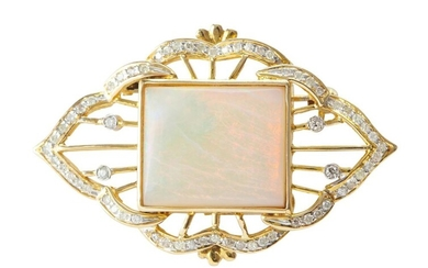 AN OPAL AND DIAMOND BROOCH IN 14CT GOLD, FEATURING A RECTANGULAR SOLID OPAL, DETAILED WITH DIAMONDS, 42X27MM, 9.3GMS