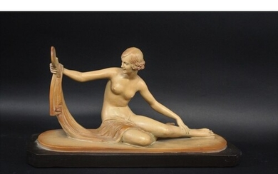 ART DECO FRENCH FIGURE OF A LADY a plaster figure of a nude ...