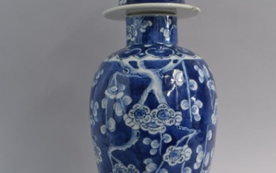 An Chinese Blue and White Vase and Cover with Prunus Decorat...