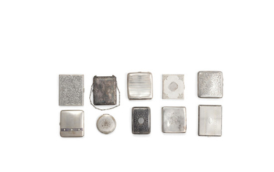 An assembled group of English and Continental silver cigarette cases and compacts