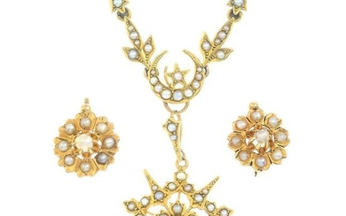 An early 20th century gold split pearl floral cluster