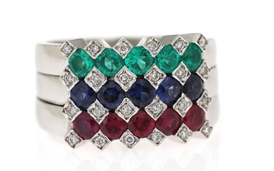 An emerald, sapphire and ruby ring set with numerous emeralds, sapphires, rubies and diamonds, mounted...