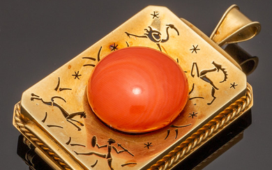 Antique brooch with coral, 585 gold