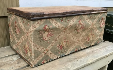 Antique 19th C American Trunk w Cotton Fabric