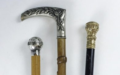 Antique Canes, Sterling Silver, Gold Filled, (3pc)