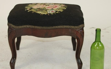 Antique needlepoint upholstered foot stool