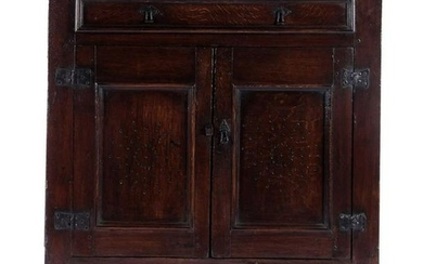 Antique oak sideboard with drawer and 2 doors, 108 cm