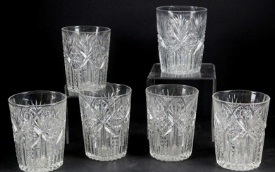 BRILLIANT CUT GLASS ANTIQUE LOW BALL GROUPING