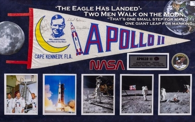 BUZZ ALDRIN, NEIL ARMSTRONG, MICHAEL COLLINS SIGNED PENNANT from...