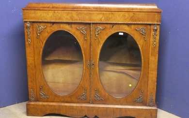 C19th Walnut side cabinet with two doors and oval glazed pan...