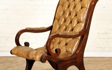 CERULE FORM MAHOGANY LIBRARY CHAIR TUFTED C.1900