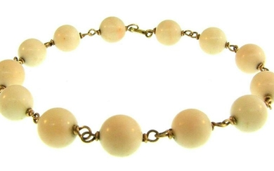CHIC 14k Yellow Gold & Angel Skin Coral Bracelet