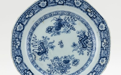 """CHINESE BLUE AND WHITE PORCELAIN PLATE With a music stone and scroll design. Diameter 9.25""""."""