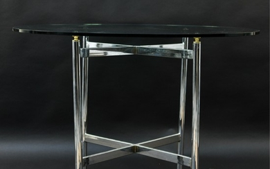 CHROME & GLASS TOP TABLE