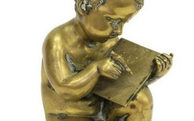 CONTINENTAL BRONZE SCULPTURE SEATED PUTTO