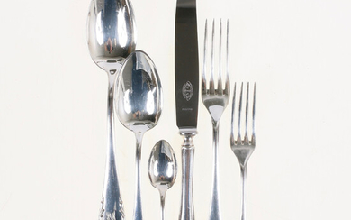 "CUTLERY, 32 parts, nickel silver, ""Haga"", 20th century."