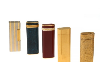 Cartier, Dupont: A collection of four Cartier lighters and a Dupont lighter. (8)