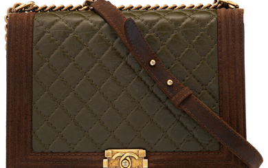Chanel Green Quilted Distressed Leather & Brown Suede Jumbo...