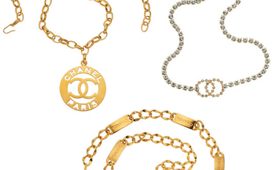 Chanel Set of Three: Crystal and Gold Belts Condition:...