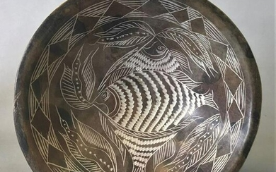 Chinese Archaistic Style Stone Bowl, Fish Motif
