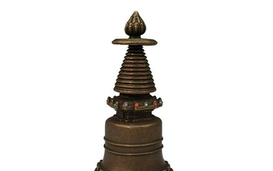 Chinese Buddhism Bronze Stupa