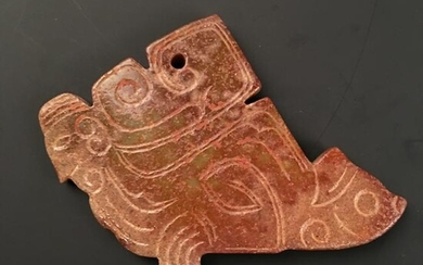 Chinese Carved Jade Pendant 3-1/8'' H, 3'' W; 95 g