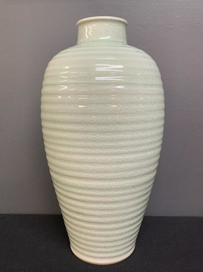 Chinese Celadon Craquelure Ribbed Vase, Signed