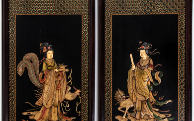 Chinese Colored Hard Stone and Resin Inlay Plaques