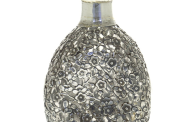 Chinese Export Sterling Silver Mounted Glass Decanter, Lifeng & Co, Late 19th - Early 20th Century.