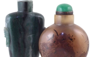 Chinese green agate snuff bottle and one other