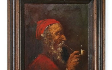 Continental O/c of man smoking a pipe, signed