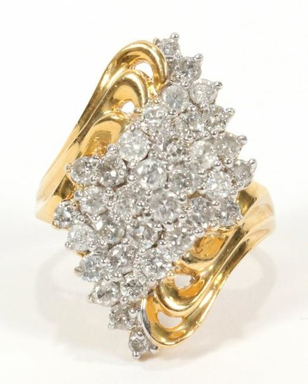 DIAMOND, YELLOW GOLD, DOMED COCKTAIL RING