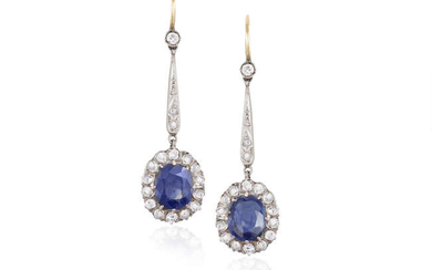 Description AN EARLY 20TH CENTURY PAIR OF SAPPHIRE AND...