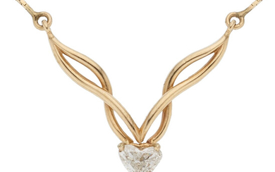 Diamond, Gold Necklace The necklace centers a heart-shaped diamond...