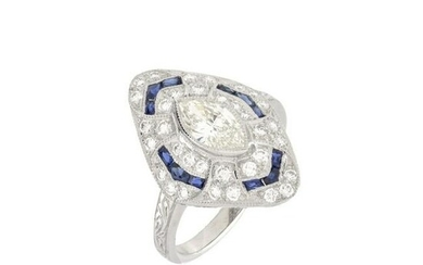 Diamond, Sapphire and Platinum Ring