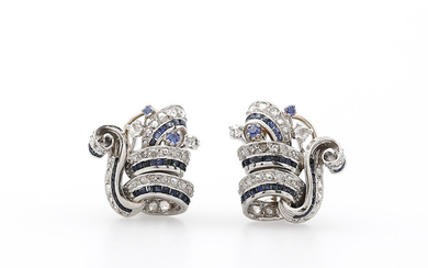 Diamonds and sapphires earrings, mid 20th Century.