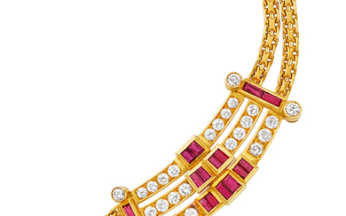 Double Strand Gold, Ruby and Diamond Necklace