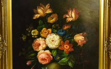Dutch Style Floral Still Life Framed Oil Painting