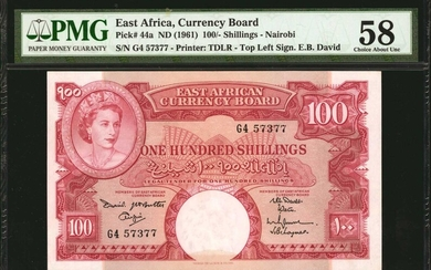 EAST AFRICA. Currency Board of East Africa. 100 Shillings, ND (1961). P-44a. PMG Choice About Uncirculated 58.
