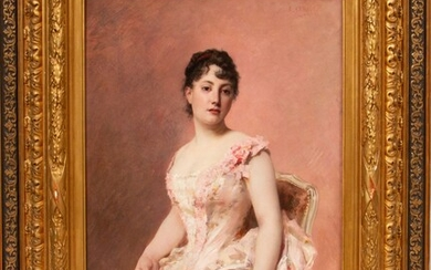 """EDOUARD CABANE (FRENCH, 19/21TH C), OIL ON CANVAS, 1885, H 25"""", W 16.5"""", """"LADY IN PINK"""""""
