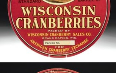 Early 20th C. American Wood Cranberry Advertisements pr